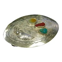 David F Garcia Kewa Silver, Turquoise, Coral, and Mother of Pearl Belt Buckle