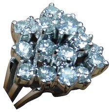 Stunning 14k White Gold and Multi-Diamond Ring