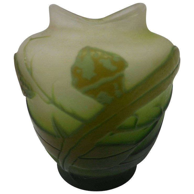 Signed Miniature Galle Green French Cameo Glass Vase The Antique