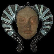 Art Pottery Wall Hanging Mask Woman Ram's Horn Headdress