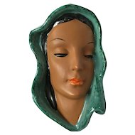 Ceramic Wall Hanging Woman's Face Effigy by Goldschneider in Austria c. 1920