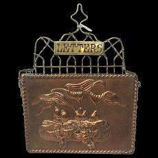 Antique Victorian Brass and Copper Letter Holder