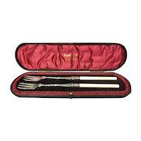 Sheffield Roberts & Belk .925 Sterling Silver & Faux Ivory Handled Forks w/ Case