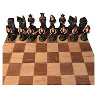 Vintage Indian and Settler Chess Set from Long Island County Museum