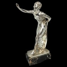 Silvered Bronze Woman Garnier Sculpture