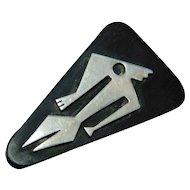 Sterling Silver Figural Brooch/Pin on Ebony Signed by Ed Wiener