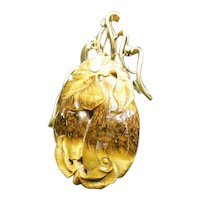 Tiger Eye Pendant in 14K Gold and Diamond