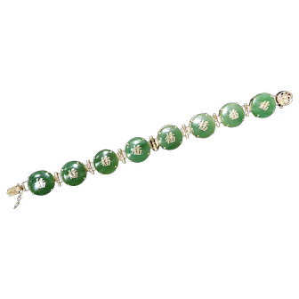 Green Jade and 14k Yellow Gold Bracelet with Chinese Symbols