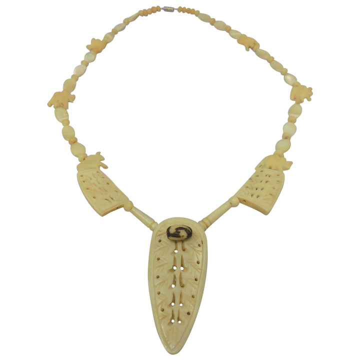 Vintage Carved Bone Necklace W Elephant Beads Shield Pendant The Antique Gallery Pa Ruby Lane