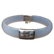 Sterling Silver and Faceted Jade Bracelet