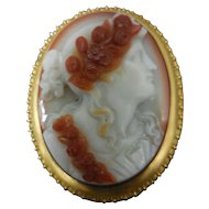 Impeccable Very Rare c. 1860 Hardstone in 14 K Gold Filigree Cameo Brooch / Pin
