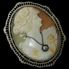 Early 20th C. Shell Cameo 14 K White Gold Filigree Brooch Pin & Diamond Pendant
