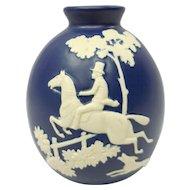 """Hand Marked Blue & White Weller Fox """"Chase"""" Ceramic Vase"""