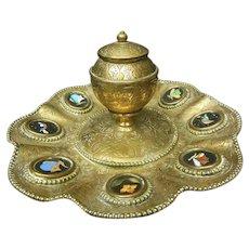 Victorian Pietra Dura and Brass Inkwell