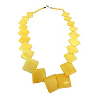 Vintage Carved Bone Chain of Diagonal Squares Long Necklace