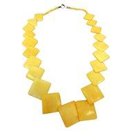 Vintage Carved Bone Chain of Diagonal Squares Long Necklace