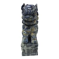 c. 1900 Blue Lapis / Marble Chinese Foo Dog Guardian Lion Shi Statue