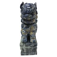 c. 1900 Blue Lapis / Marble Chinese Foo Dog Guardian Lion Shi Statue
