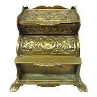 Victorian English Adolph Frankau & Co. Footed Tiered Brass Stamp Box