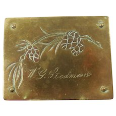 Arts & Crafts Movement German Engraved Pinecone Motif Brass Stamp Box