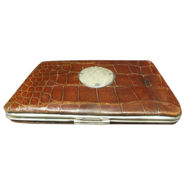 Victorian Alligator Skin & Sterling Silver Business Card Case : The ...