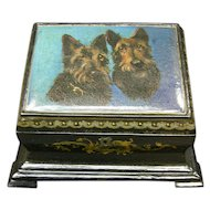 Victorian Paper Mache Stationary box Scottish Terriers