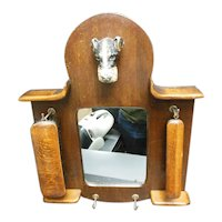 Fox Terrier Victorian Wall Bracket Housing Two Brushes & Mirror For Grooming
