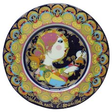 Signed Bjorn Wiinblad Studio Line Rosenthal Decorative Plate – Weihnachtsteller (Christmas) 1980 Angel With Bells