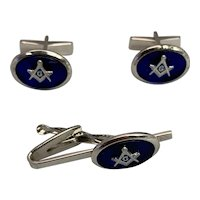 Masonic Men's Jewelry Set: Sterling Silver Cuff Link and Tie Clip
