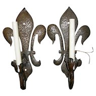 Wrought Iron sconces Fleur de Lis