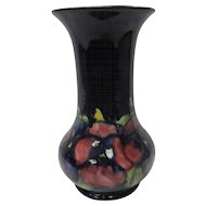 c. 1920 English Moorcroft Art Pottery Cobalt Blue Pansy Vase