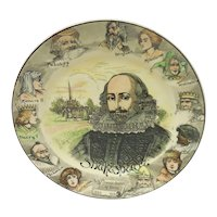 Vintage Royal Doulton Porcelain Literary Portrait Plate – William Shakespeare