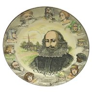 Vintage Royal Doulton Porcelain Literary Portrait Plate – William Shakespeare