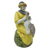 French Faience Woman Holding Fowl Spout-less Pitcher