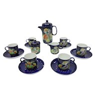 "Signed Bjorn Wiinblad Studio Line German Rosenthal Porcelain ""1001 Nights"" Demitasse Set"