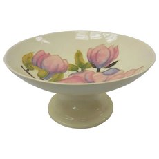 English Moorcroft Art Pottery Magnolia on Beige Tazza
