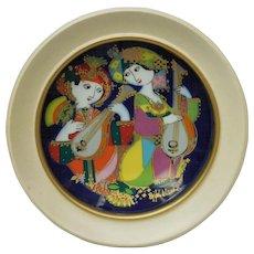 Signed Bjorn Wiinblad Studio Line Rosenthal Decorative Plate - Orientalische Nachtmusik Mandolinenspieler Motiv 2
