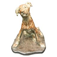 French Ceramic Dog signed by Van. Rozen