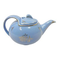 Vintage Hall China Baby Blue & Gold Trim Flowers Teapot With Hook Cover Lid