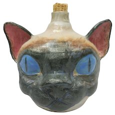 Monty Weaver's Whimsical Southern Folk Ceramic Siamese Cat Face Jug