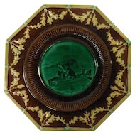 Wedgwood Majolica Octagonal Portrait Plate With Medieval Dolphin Feet