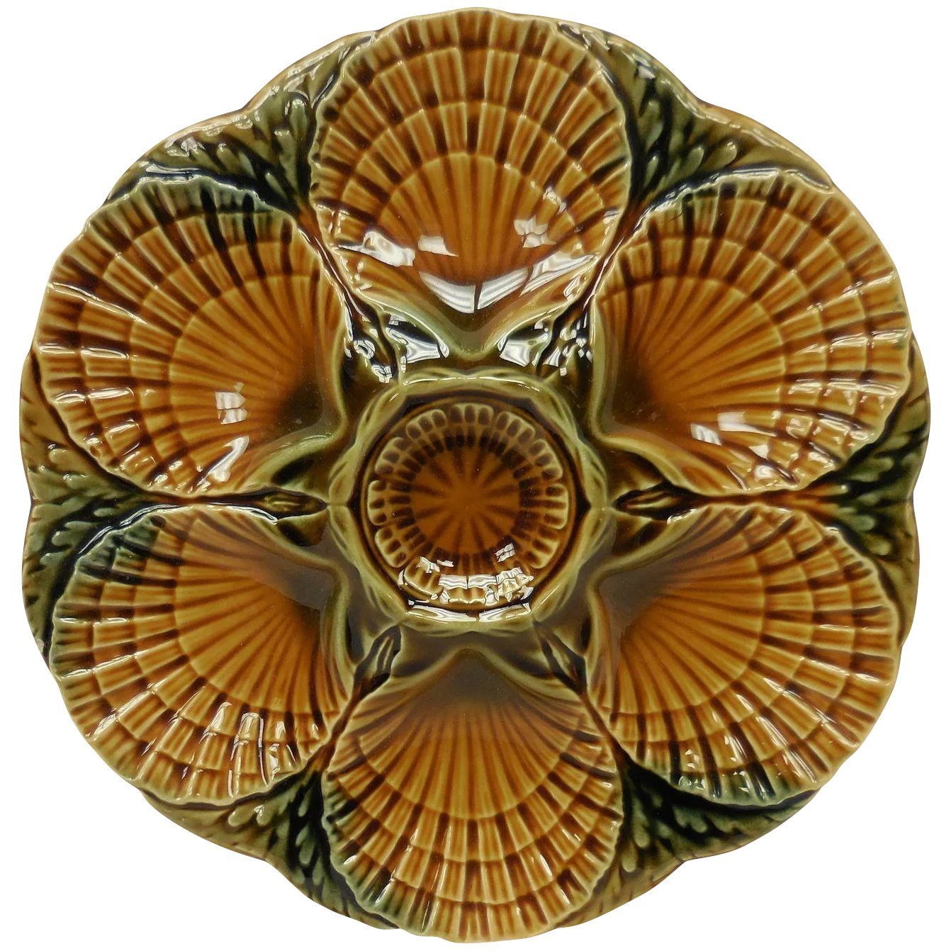 Sarreguemines French Majolica Brown Oyster Plate The