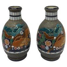 Pair of Art Nouveau Czechoslovakia Amphora Ceramic Vase With Duck Motif