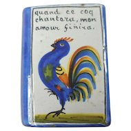 French Quimper Pottery Le Coq Rooster Book Faience Snuff Bottle