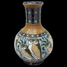 Art Nouveau Czechoslovakia Amphora Ceramic Vase With Owl Motif