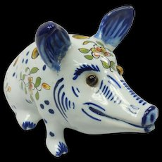 French Faience Pottery Desvres Floral Frog Pig Figure