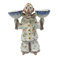 c. 1930 Signed French Faience Pottery Desvres Two Faced Clown Open Salt Figurine by George Martel