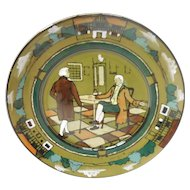 "Signed c. 1908 Buffalo Pottery Deldare Plate – ""At Ye Lion In"" by Lita Palmer"