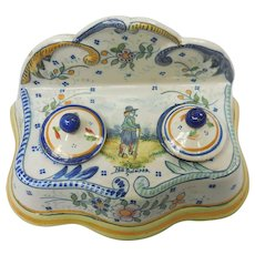 French Quimper Pottery Double Inkwell Inkstand With Breton & Fleur-De-Lis Motif