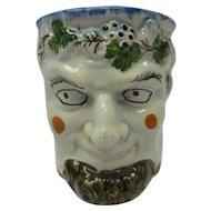 Rare Late 19th Century - Early 20th Century Ceramic Prattware Satyr Handled Mug